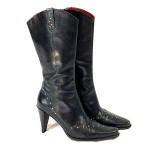 Donald J Pliner vintage Black Stud Boots sz 7
